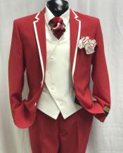 JSM-4844 Mens Red and White Stripe Two Toned Vested