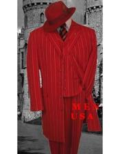 JSM-4980 Mens Red And White Stripe ~ Pinstripe Vested