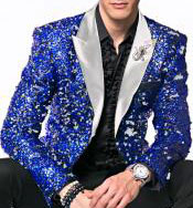 CH2035 Mens Royal ~ White Sequin paisley Dinner Jacket