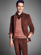 Mens Notch Lapel Velvet Rust
