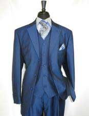 CH2435 mens high fashion Single Breasted Sharkskin Blue vested
