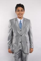 JSM-5741 Boys Sharkskin 5 Piece Silver Single Breasted Suit