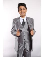 JSM-5742 Boys Sharkskin 5 Piece Silver Single Breasted Suit