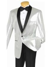 JSM-3014 Mens Sequin Dinner Jacket Silver Single Breasted Shawl