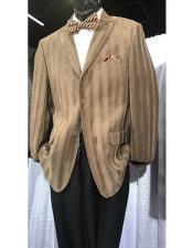 JSM-6902 Mens High Fashion Single Breasted Stripe Brown Blazer