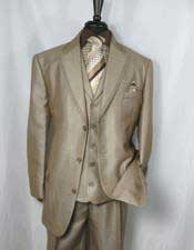 Mens Tan Notch Lapel Single