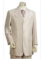 CH2477 Mens stripe Single Breasted taupe long suit