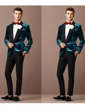 JSM-5104 Teal Blue Tuxedo For Men