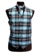 JSM-3289 Mens Black/White/Turquoise Slim Fit Polyester Plaid Design Vest/Bow