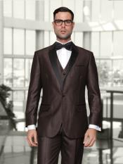 JS396 Mens 1 Button Single Breasted Vested Brown Tuxedo
