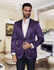 JSM-4867 Mens Big and Tall Single Breasted Violet Blazer
