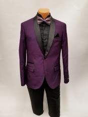 JS382 Mens One Button Shawl Lapel Purple Prom Wedding