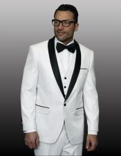 CH2201 mens one button white vested tuxedo suit with