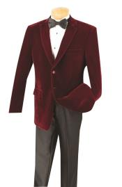 SM5198 Cheap Big And Tall Blazers Wine Clearance Velvet