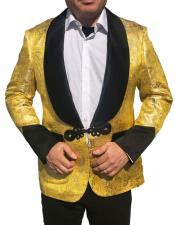 CH1871 Mens Yellow & Black Lapel ~ Gold Tuxedo