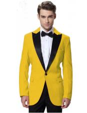 CH2248 Mens Black Lapel Tuxedos yellow Jacket with Black
