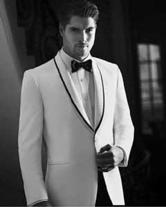 PN_H66 White Tuxedo Dinner Jacket Suit Shawl Collar with