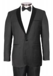 PN-I67 1 Button Style Liquid Jet Black Tuxedo With