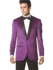 SM1222 1 Button Style Purple color shade Shawl Collar