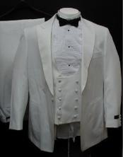 1 Button Style Peak Lapel White 1920s tuxedo style