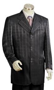 JA90 Mens Ombre Grid Wide Lapel Black Zoot Suit