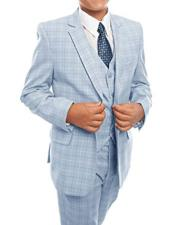 CH1714 Boys Sky Blue 3-Piece Check Tuxedo Boys And