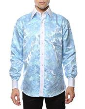 Mens Shiny Satin Floral Spread