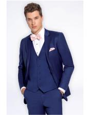 GD1374 Mens Slate Blue Single Breasted Notch Lapel Slim