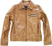 KA9562 Zip Front Genuine Leather Jacket Slim narrow Style