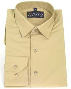 KA9931 Dress Shirt Slim narrow Style Fit -Tan khaki