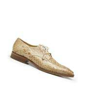 CH2213 Mens Genuine Alligator Lace Up Style Taupe Dress