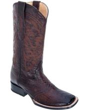 JSM-4163 Los Altos Mens Burnished Brown Boots Ostrich Leg