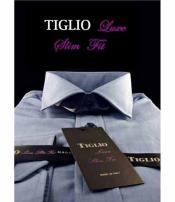 SD337 Tiglio Luxe Mens Blue Slim Fit Cotton Standard