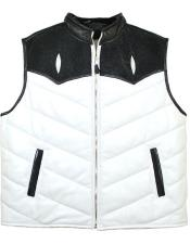 GD1021 G-Gator Mens Genuine Stingray White/Black Zipper Vest