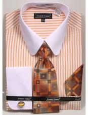 CH2294 Mens white Tab Collared French Cuffed Mustard Dress
