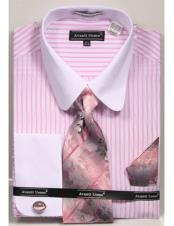CH2295 Mens white Tab Collared French Cuffed Pink Dress