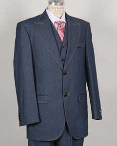G68TK Stylish Two Button Blue Suit Peak Lapel Vested