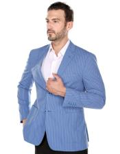 CH2064 Renoi Mens summer Blue textured pinstripe Slim Fit