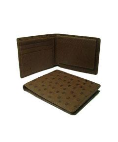 GNK7891 Ostrich Wallet - Kango Tabac ID Holder Bifold