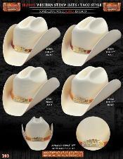 IKL2712 10000x Taco Style Western Cowboy Straw Hat