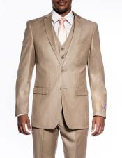 CH2097 Mens 3 piece slim fit wedding prom Tan