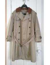 CH1577 Mens Tan Classic Contrasting collar Long Trench Coat