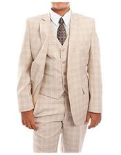 CH1715 Boys 3-Piece Check Tuxedo Taupe Boys And Men