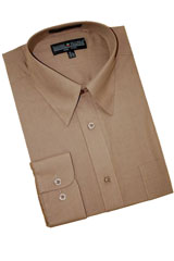 TA749 Taupe Cotton Blend Dress Shirt With Convertible Cuffs