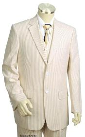 Sear Sucker Suit Cotton Taupe Summer