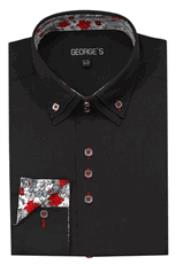 JSM-2771 Mens 3 Button High Collar Black George Shirts