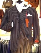 OUS132 Chalk pronounce visible Pinstripe Vested three piece suit