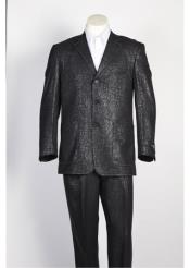 JSM-107 Mens Black 3 Button Single Breasted Shiny Paisley
