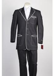JSM-111 Mens Black 3 Button Single Breasted Suit