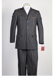 Product#JSM-222Mens3ButtonBlackDenimJean2Piece